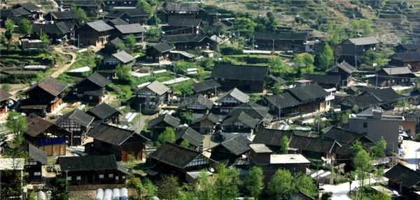 紫鹊界梯田下的正龙村